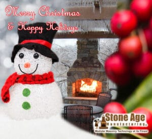 Christmas image of snowman and fireplace