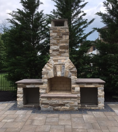 36 Inch Contractor Series with Custom Hearth and Wood Storage