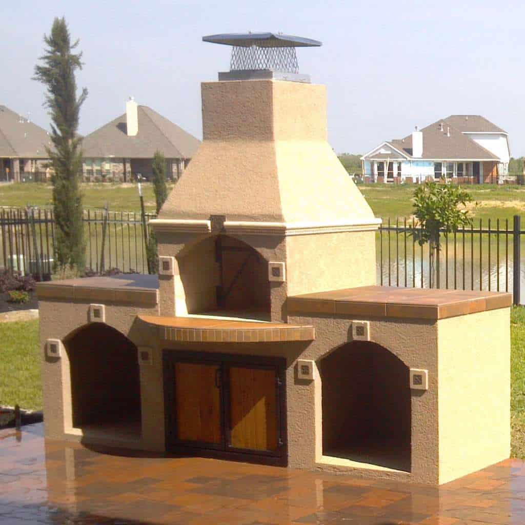 Brick Oven with Wood Storage Boxes