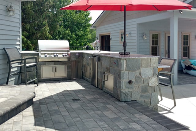 15' L Island with Grill and Refrigerator in Natural Stone