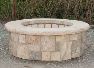 Short Round Fire Pit in Natural Stone