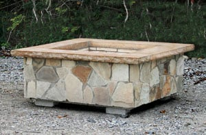 Square Fire Pit in Natural Stone