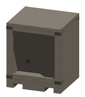 Drawing of Wood Storage Box with Square Opening