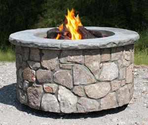 Tall Round Fire Pit in Natural Stone
