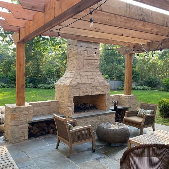 36 Inch Contractor Series Fireplace with Straight Lintel in Eden Stone